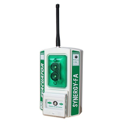 A green and white wireless first aid site alarm